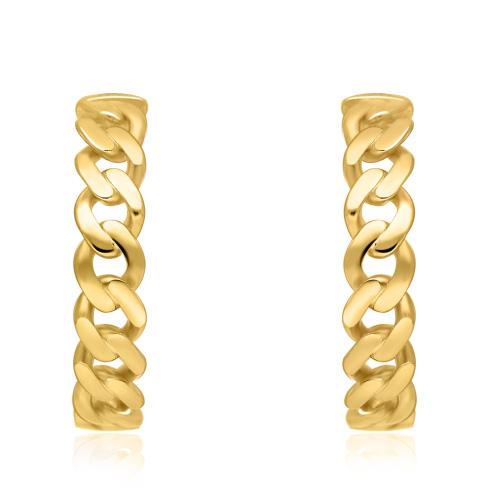 Pozłacane kolczyki - Koła łańcuch pr.925