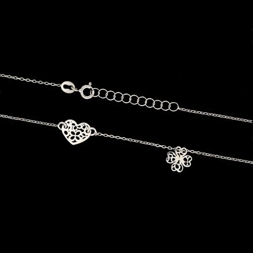 Pozłacany naszyjnik celebrytka - Ażurowe Serce i Kwietek pr.925