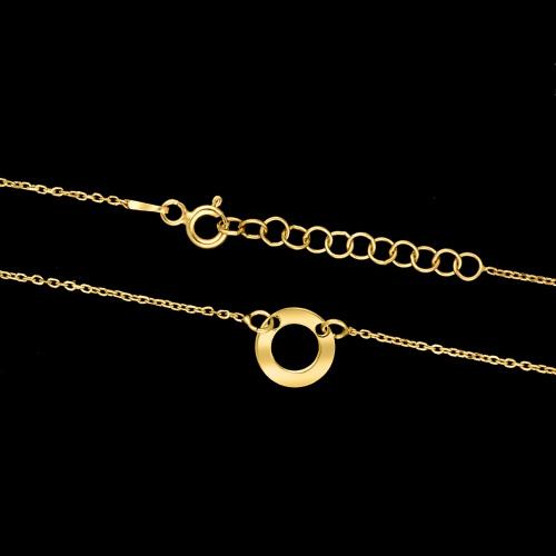 Pozłacany naszyjnik celebrytka  - Ring pr.925