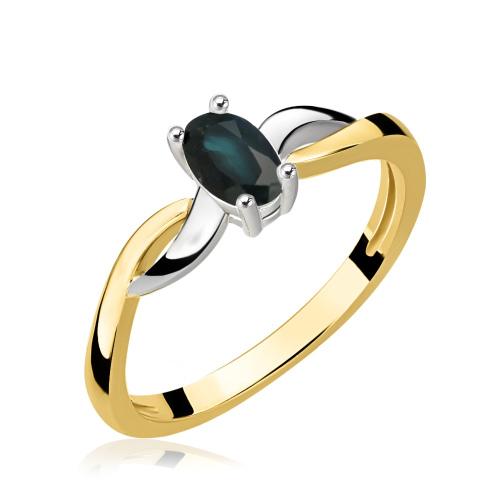 Złoty pierścionek z szafirem i cyrkoniami pr.585