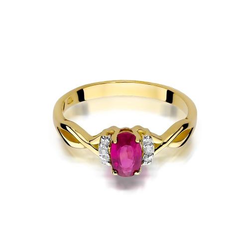 Pierścionek zaręczynowy z rubinem 0,60ct i brylantami pr.585