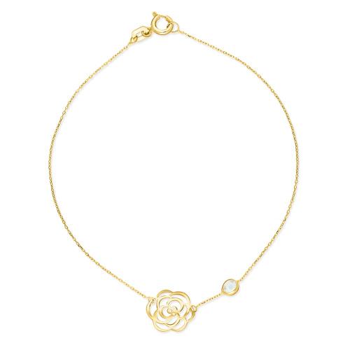 Złota bransoletka celebrytka - Ażurowa róża z cyrkonią pr.585