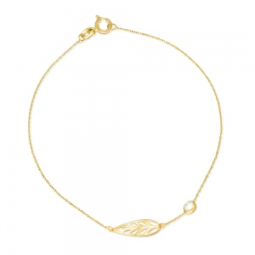 Złota bransoletka celebrytka - Skrzydło z cyrkonią pr.585