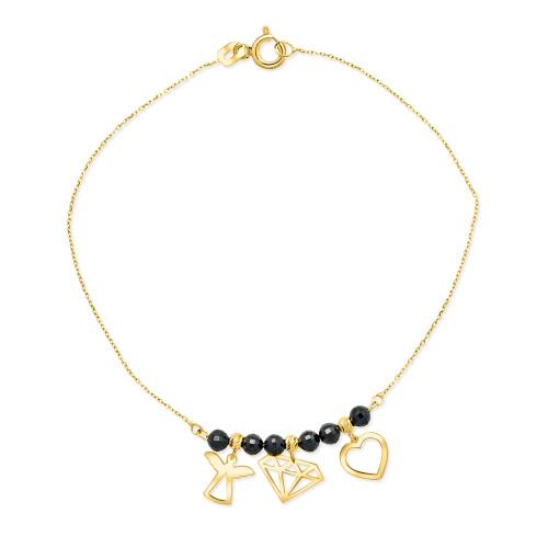 Złota bransoletka z kryształkami - Anioł, diament, serce pr.585