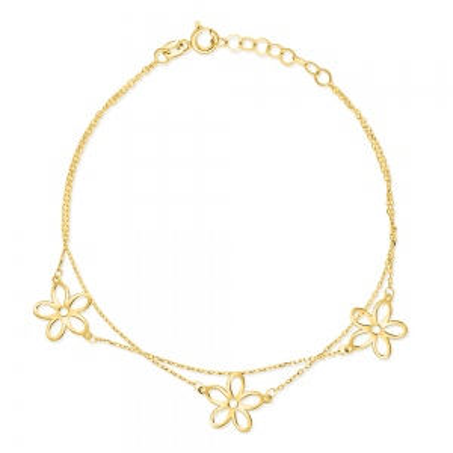 Złota bransoletka potrójna celebrytka - Stokrotki pr.585