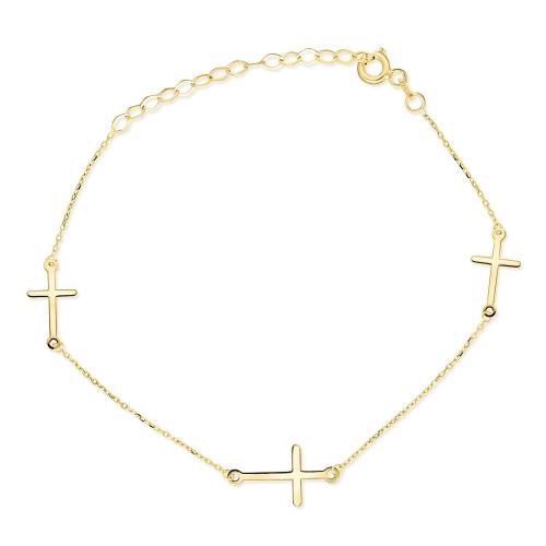 Złota bransoletka potrójna celebrytka - Krzyżyki pr.585