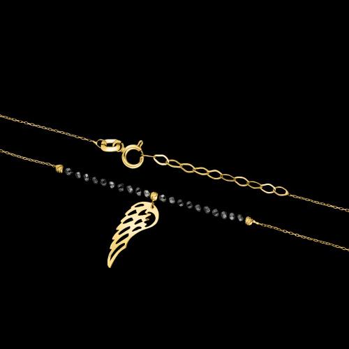 Złoty naszyjnik z hematytem - Skrzydło pr.585