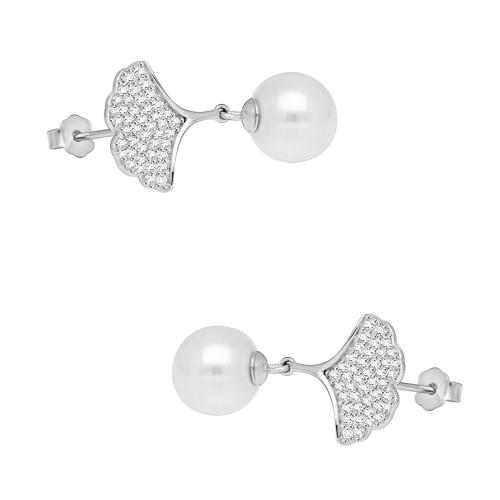 Srebrne kolczyki z cyrkoniami - Liście Miłorzębu z Perłami pr.925