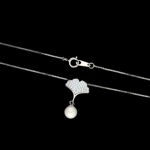 Srebrny naszyjnik z cyrkoniami - Liść Miłorzębu z Perłą pr.925