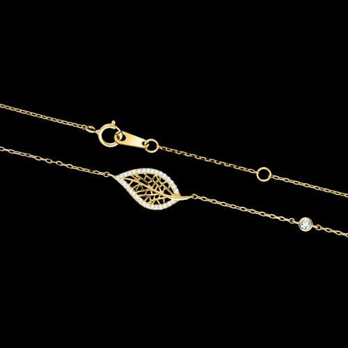 Pozłacany naszyjnik celebrytka z cyrkoniami - Ażurowy Liść pr.925