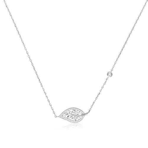 Srebrny naszyjnik celebrytka z cyrkoniami - Ażurowy Liść pr.925