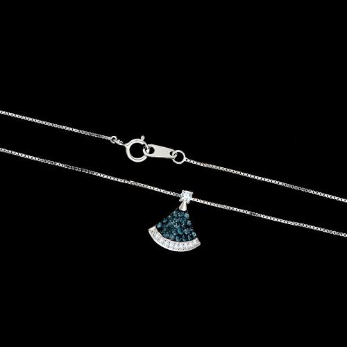 Srebrny naszyjnik z cyrkoniami - Wachlarz pr.925
