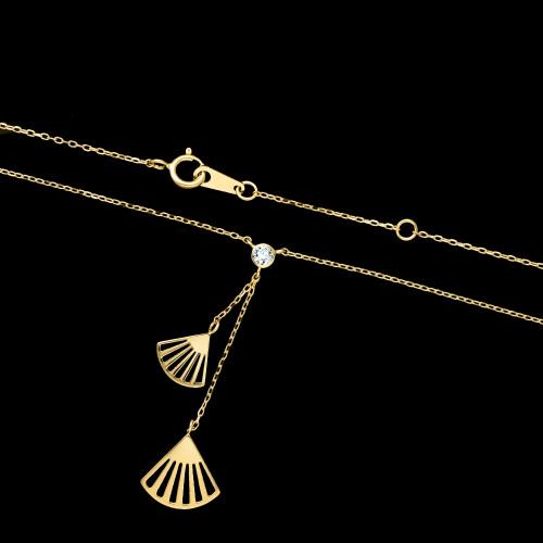Pozłacany naszyjnik krawatka - Ażurowe Wachlarze pr.925
