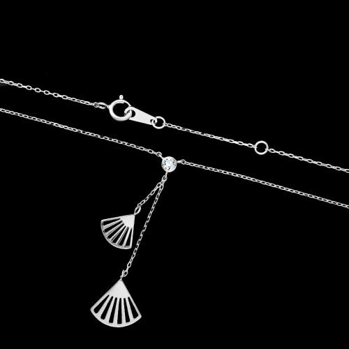 Srebrny naszyjnik krawatka - Ażurowe Wachlarze pr.925