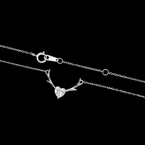 Srebrny naszyjnik celebrytka z cyrkonią - Poroża Jelenia pr.925