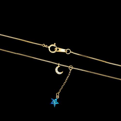 Pozłacany naszyjnik krawatka - Gwiazdka z nieba pr.925