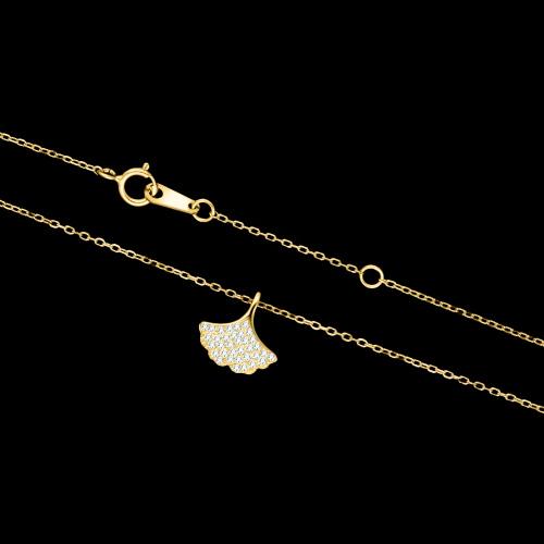Pozłacany naszyjnik z cyrkoniami - Liść Miłorzębu pr.925