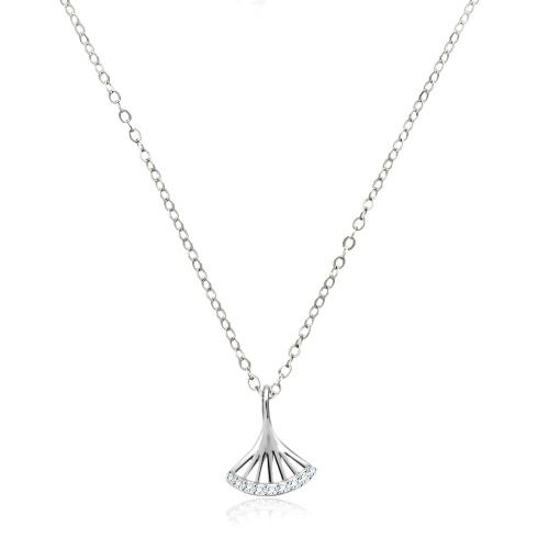Srebrny naszyjnik z cyrkoniami - Ażurowy Wachlarz pr.925
