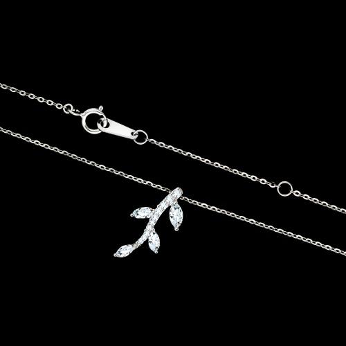 Srebrny naszyjnik z cyrkoniami - Gałązka pr.925
