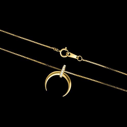 Pozłacany naszyjnik z cyrkoniami - Księżyc pr.925