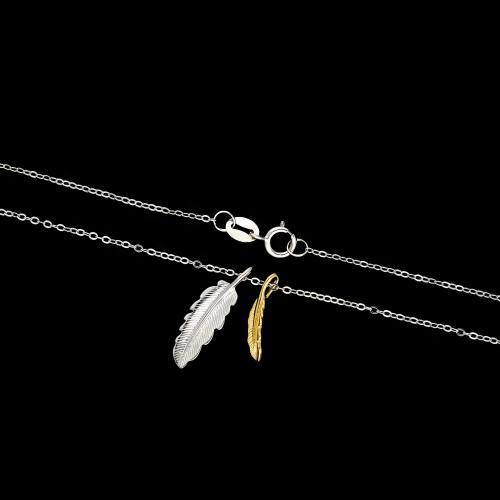 Srebrny naszyjnik - Dwa Piórka pr.925