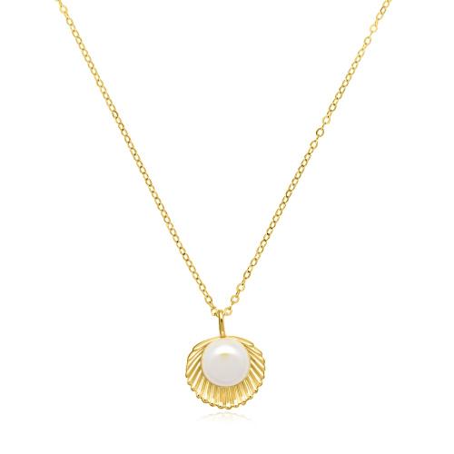 Pozłacany naszyjnik z perłą - Muszla pr.925