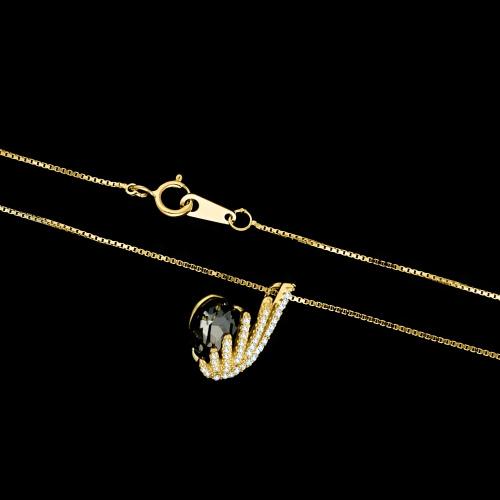 Pozłacany naszyjnik z cyrkoniami - Skrzydło Anioła pr.925