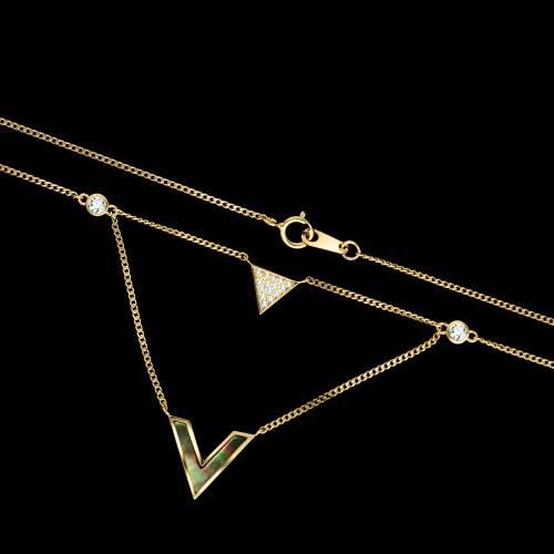 Pozłacany naszyjnik podwójna celebrytka - Trójkąt i V z masą perłową pr.925