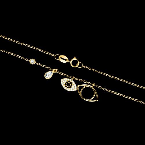 Pozłacany naszyjnik z cyrkoniami - Gold Evil Eye pr.925