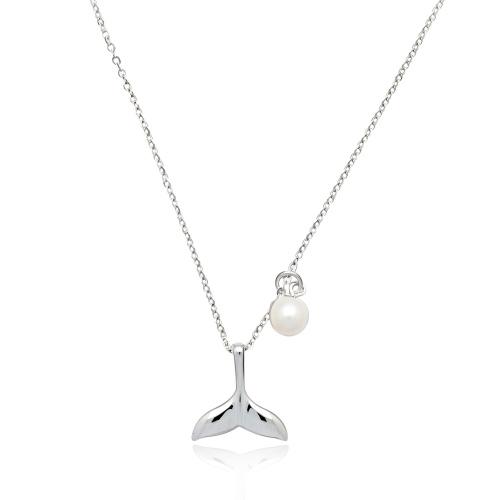 Srebrny naszyjnik z perłą - Płetwa Wieloryba pr.925