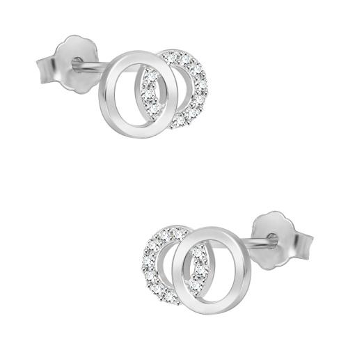 Srebrne kolczyki z cyrkoniami - Splecione Koła pr.925