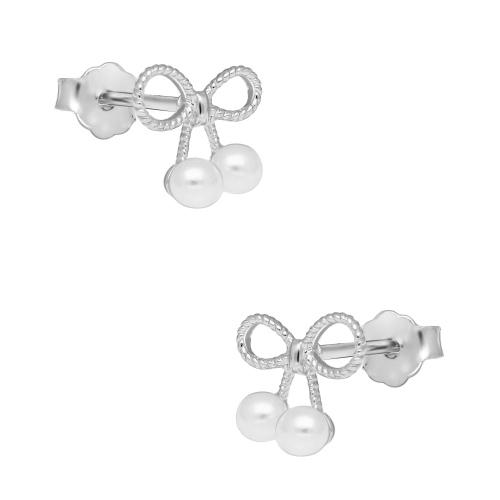 Srebrne kolczyki z perełkami - Kokardki pr.925