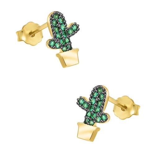 Pozłacane kolczyki z cyrkoniami - Kaktusy pr.925