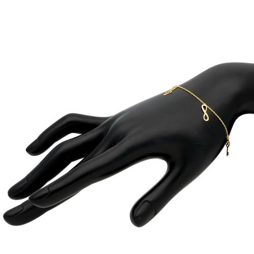 Złota bransoletka celebrytka - Nieskończoność, Klucz, Klucz Wiolinowypr.585