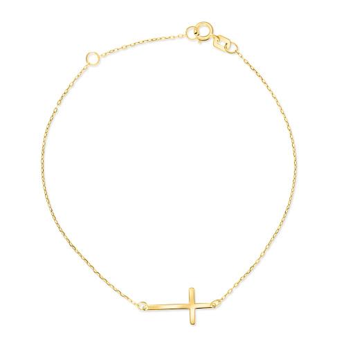 Złota bransoletka celebrytka - Krzyżyk pr.585