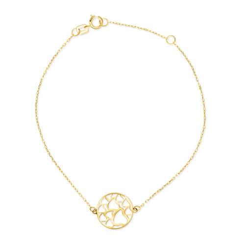Złota bransoletka celebrytka - Kółeczko w Serduszka pr.585