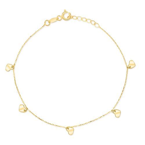 Złota bransoletka celebrytka - Serduszka pr.585