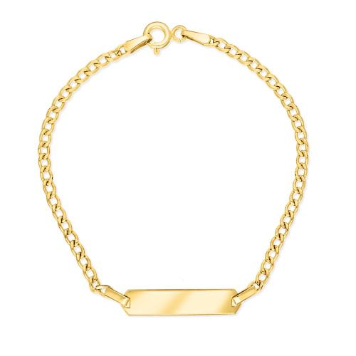 Złota bransoletka pancerka - Blaszka Pod Grawer 17cm pr.585