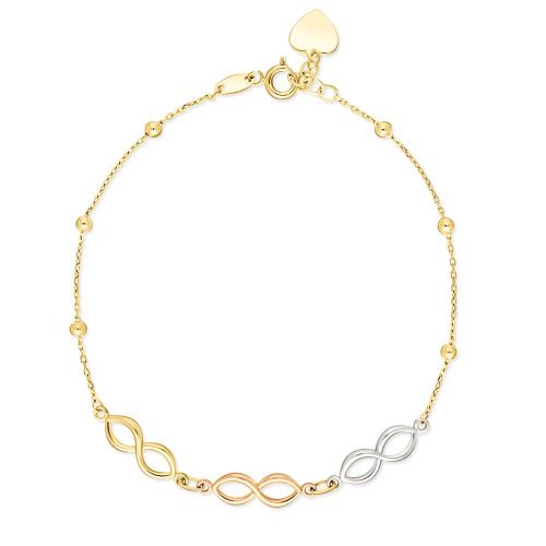 Złota bransoletka celebrytka - Potrójna Nieskończoność pr.585
