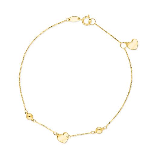 Złota bransoletka celebrytka - Serca pr.585