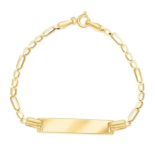 Złota bransoletka figaro - Blaszka Pod Grawer 15cm pr.585
