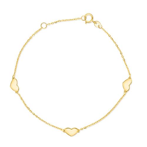 Złota bransoletka potrójna celebrytka - Serduszka pr.333