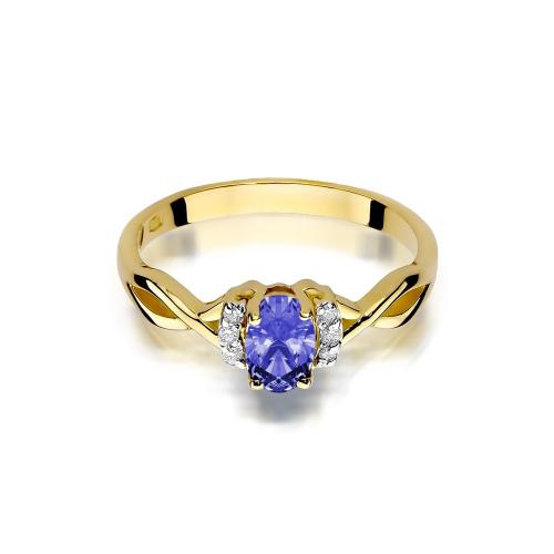 Pierścionek zaręczynowy z tanzanitem 0,40ct i brylantami pr.585