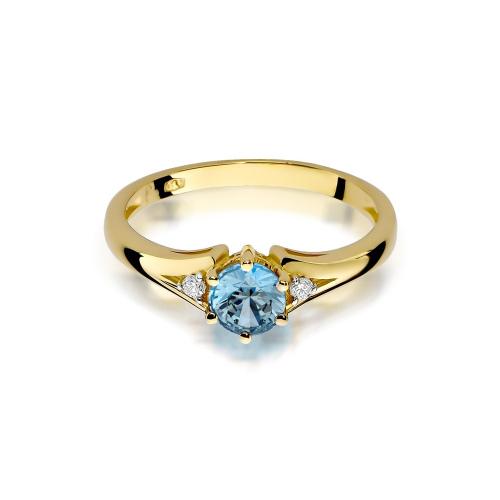 Pierścionek zaręczynowy z topazem 0,50ct i brylantami pr.585