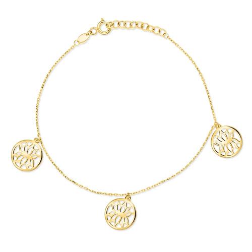 Złota bransoletka potrójna celebrytka - Kwiat Lotosu pr.333
