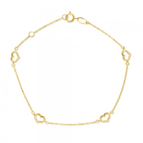 Złota bransoletka celebrytka - Serduszka pr.333