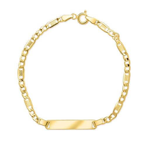 Złota bransoletka figaro - Blaszka Pod Grawer 17cm pr.333