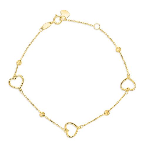 Złota bransoletka potrójna celebrytka - Serca pr.333