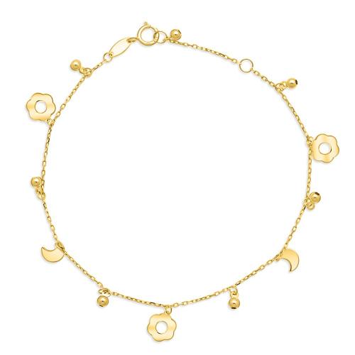 Złota bransoletka celebrytka - Kwiatki pr.333