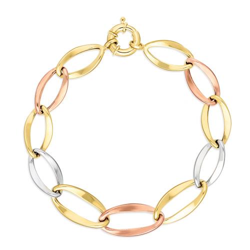 Złota trójkolorowa bransoletka - Duże Ogniwa 18cm pr.333